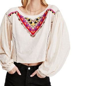 Free People Rainbow Embroidered Long Sleeve Top